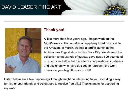 DAVID LEASER FINE ART NEWSLETTER – MAY 2011