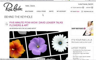 FIVE-MINUTE POW-WOW: DAVID LEASER TALKS FLOWERS & ART WITH RUE LA LA