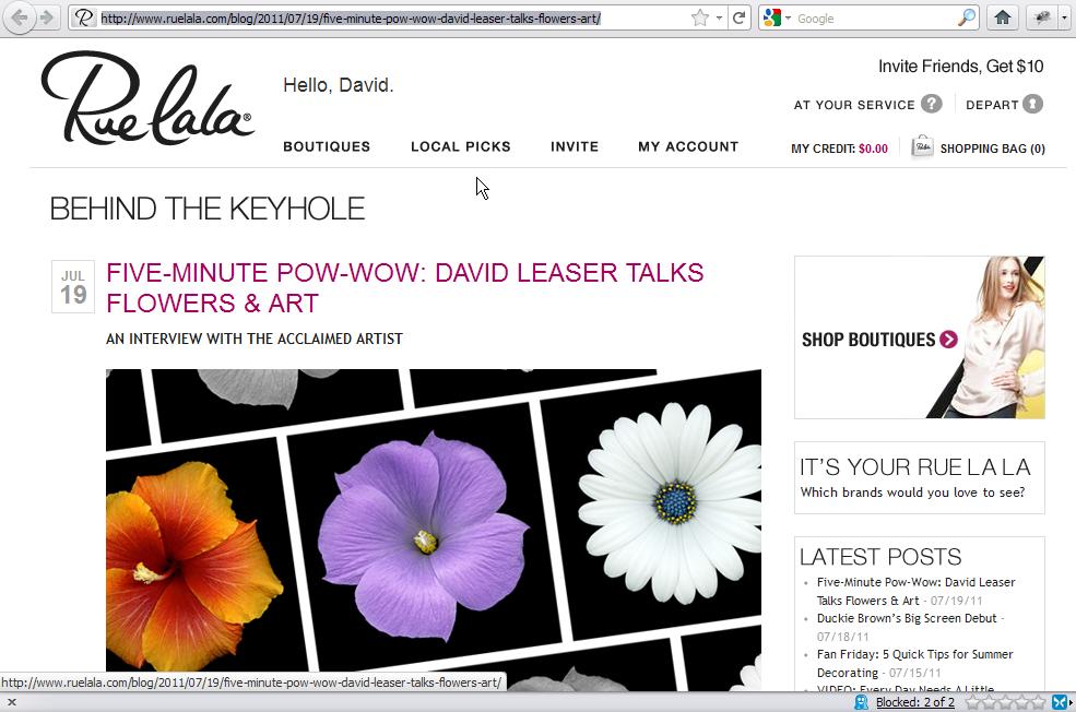 FIVE-MINUTE POW-WOW: DAVID LEASER TALKS FLOWERS & ART WITH RUE LA LA